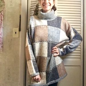 {Vintage} Wool Grey Color Block Turtleneck Sweater